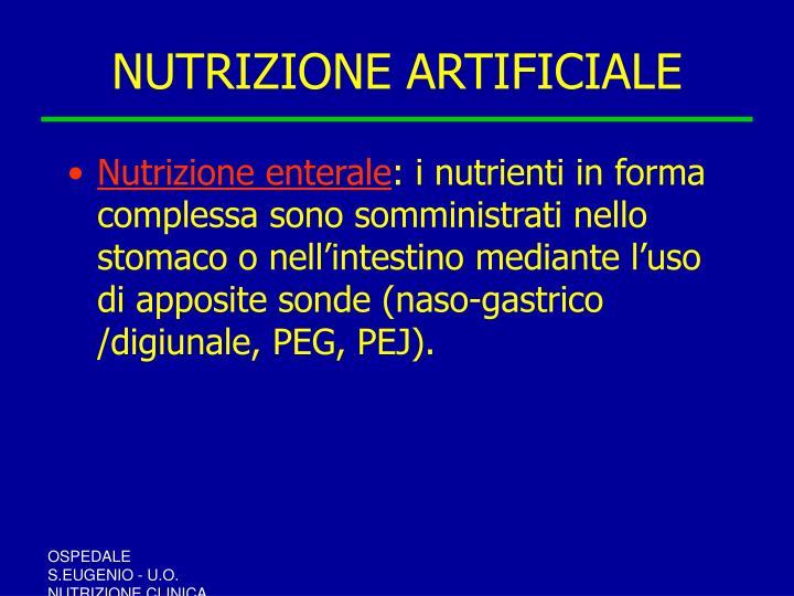 NUTRIZIONE ARTIFICIALE