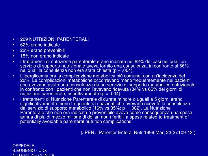 209 NUTRIZIONI PARENTERALI