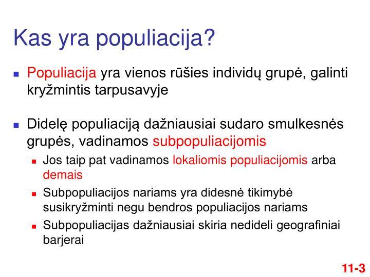 Kas yra populiacija