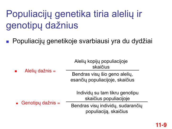 Populiacijų genetika tiria alelių ir genotipų dažnius