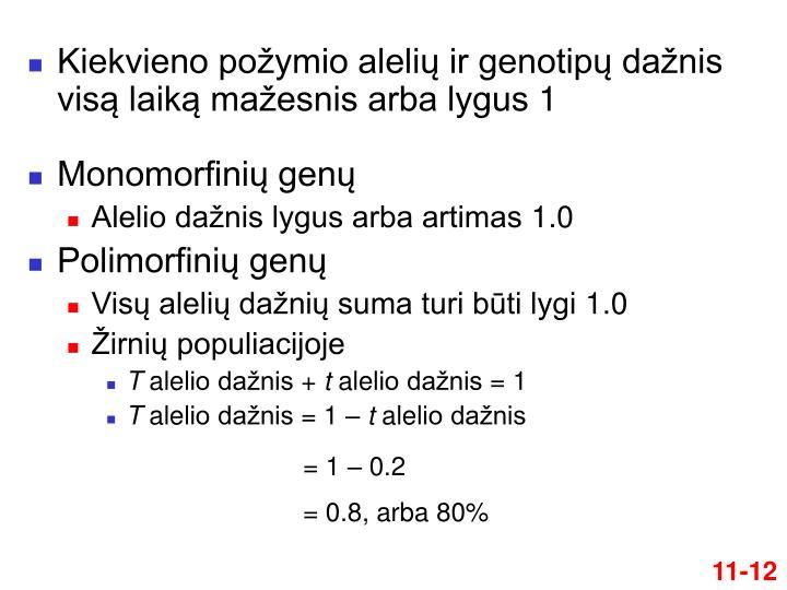 Kiekvieno požymio alelių ir genotipų dažnis visą laiką mažesnis arba lygus