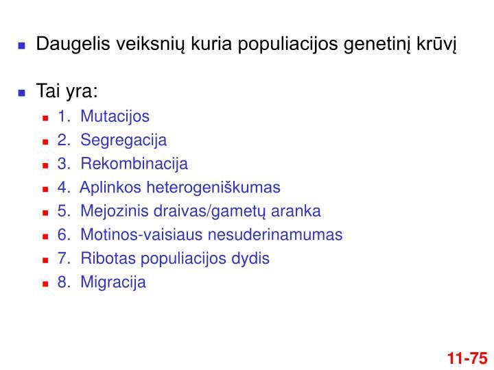 Daugelis veiksnių kuria populiacijos genetinį krūvį