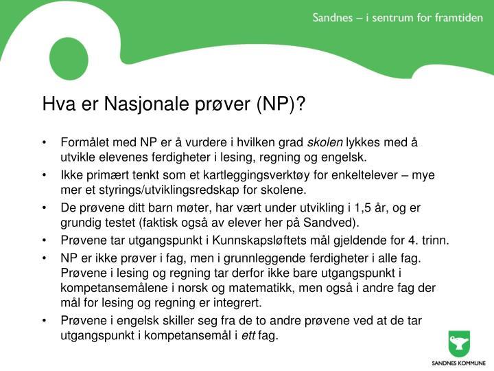 Hva er Nasjonale prøver (NP)?