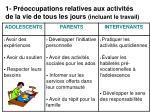 1 pr occupations relatives aux activit s de la vie de tous les jours incluant le travail