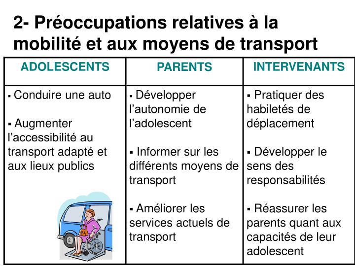 2- Préoccupations relatives à la mobilité et aux moyens de transport