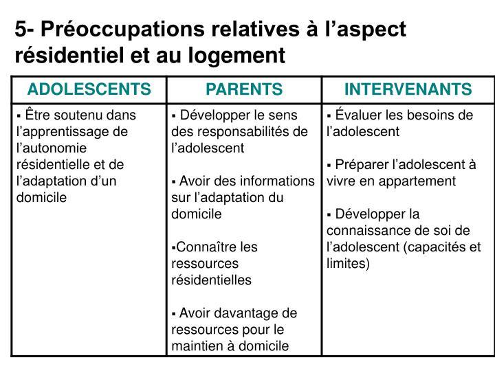 5- Préoccupations relatives à l'aspect résidentiel et au logement