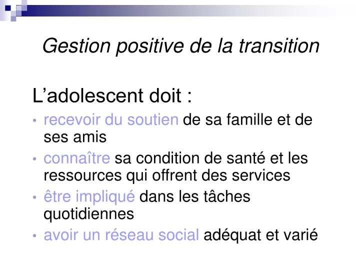 Gestion positive de la transition