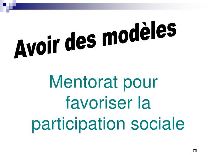 Mentorat pour favoriser la participation sociale