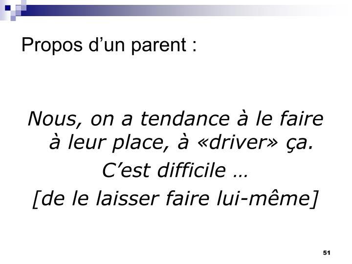Propos d'un parent :