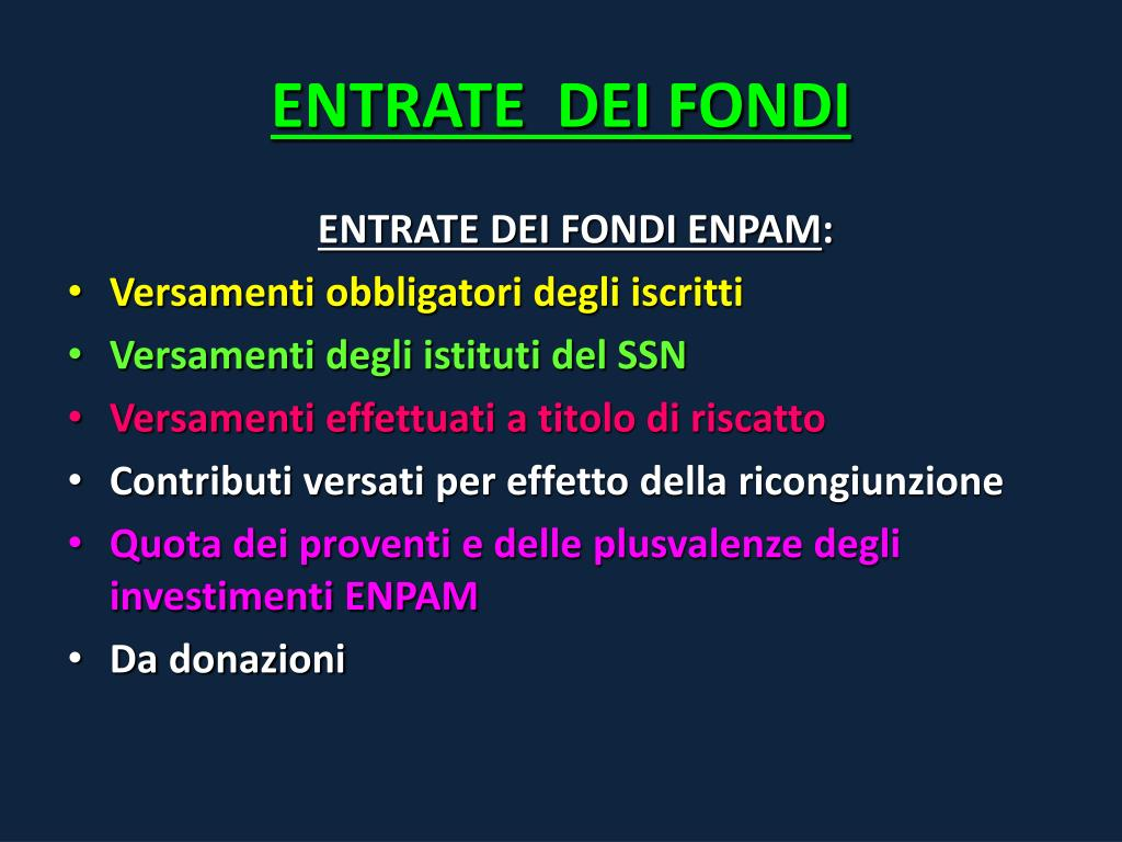 ENTRATE  DEI FONDI