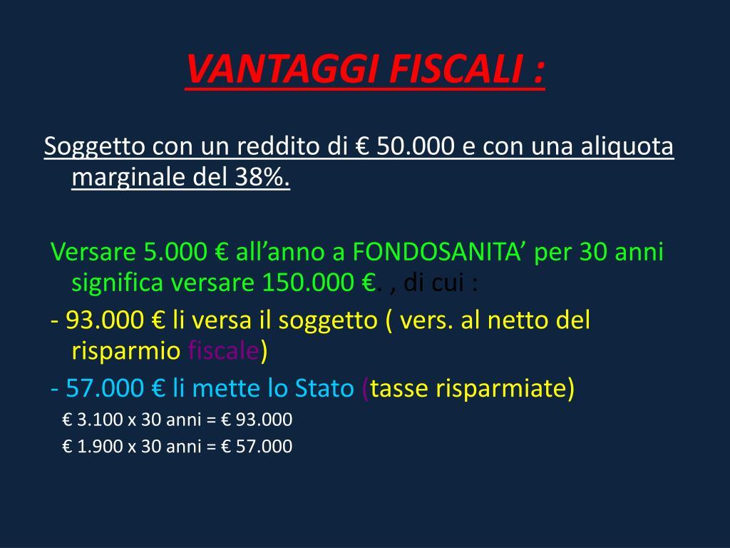 VANTAGGI FISCALI :