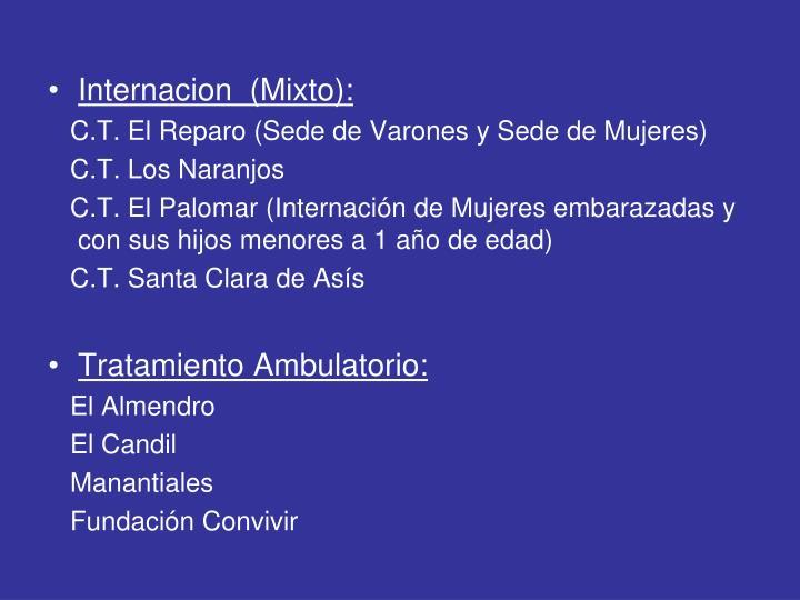 Internacion  (Mixto):