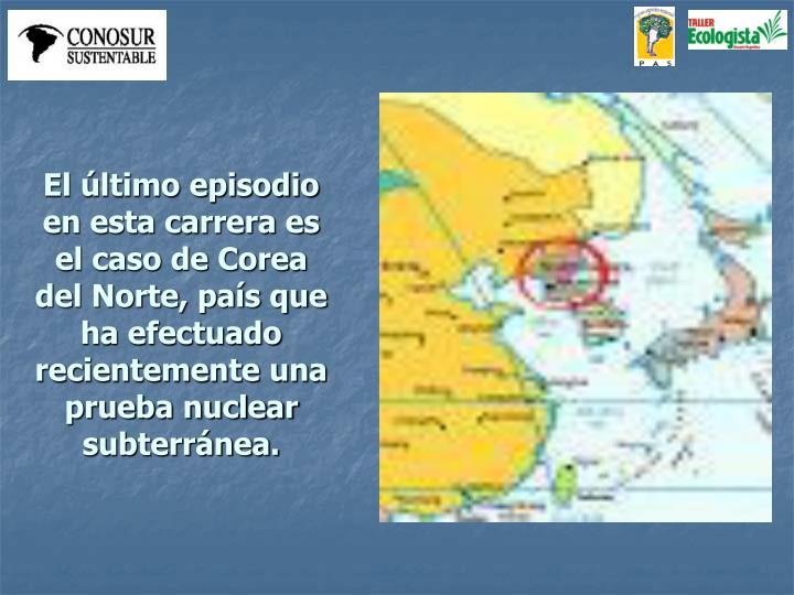 El último episodio en esta carrera es el caso de Corea del Norte, país que ha efectuado recientemente una prueba nuclear subterránea.
