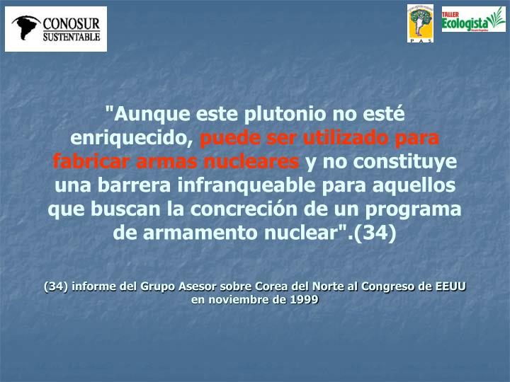 """""""Aunque este plutonio no esté enriquecido,"""