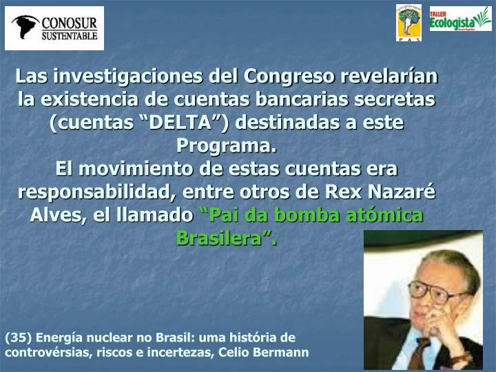 """Las investigaciones del Congreso revelarían la existencia de cuentas bancarias secretas (cuentas """"DELTA"""") destinadas a este Programa."""