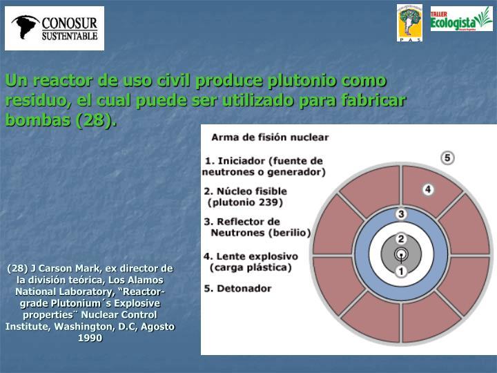 Un reactor de uso civil produce plutonio como residuo, el cual puede ser utilizado para fabricar bombas (28).