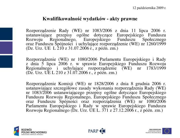 Kwalifikowalność wydatków - akty prawne