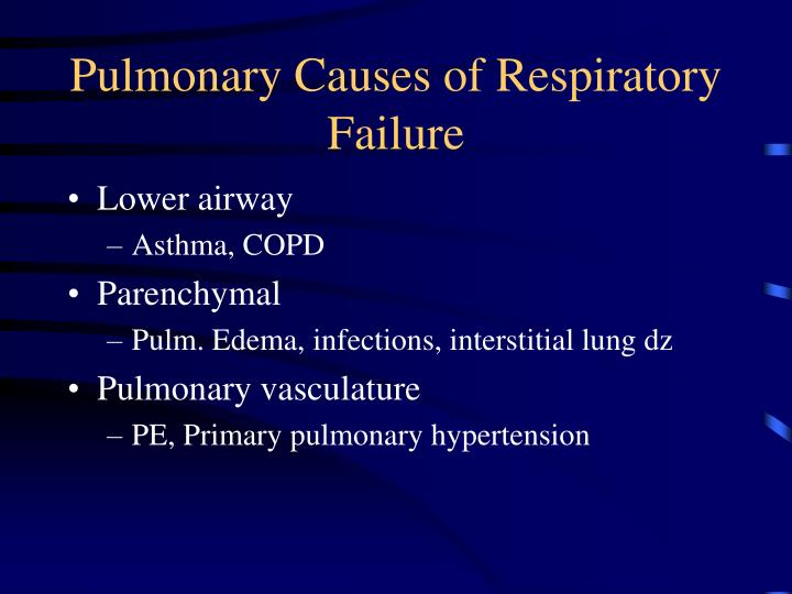 Pulmonary Causes of Respiratory Failure