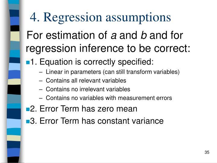 4. Regression assumptions