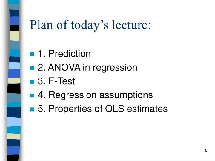 Plan of today's lecture: