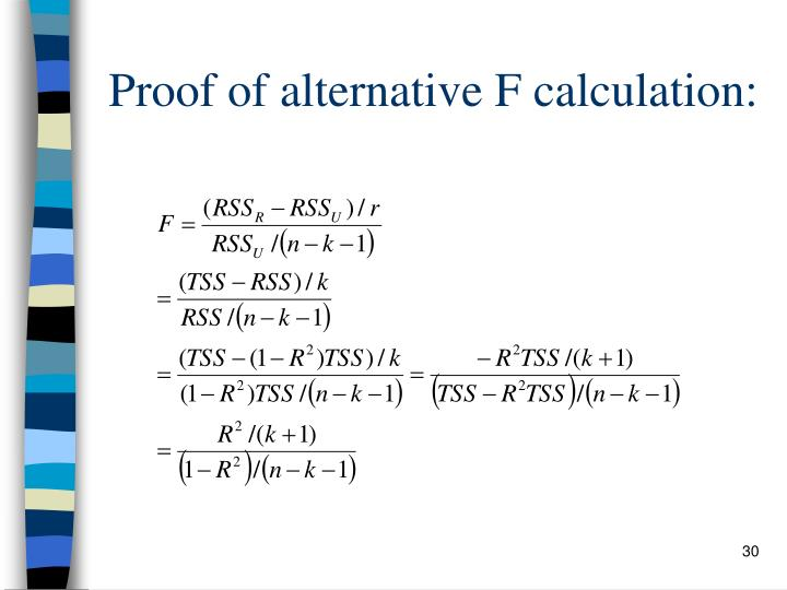Proof of alternative F calculation:
