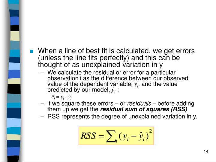 When a line of best fit is calculated, we get errors (unless the line fits perfectly) and this can be thought of as unexplained variation in y