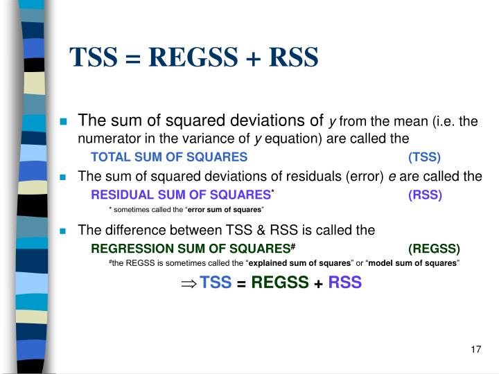 TSS = REGSS + RSS