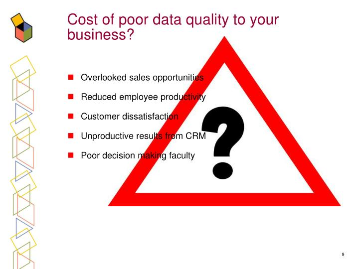 Cost of poor data quality to your business?
