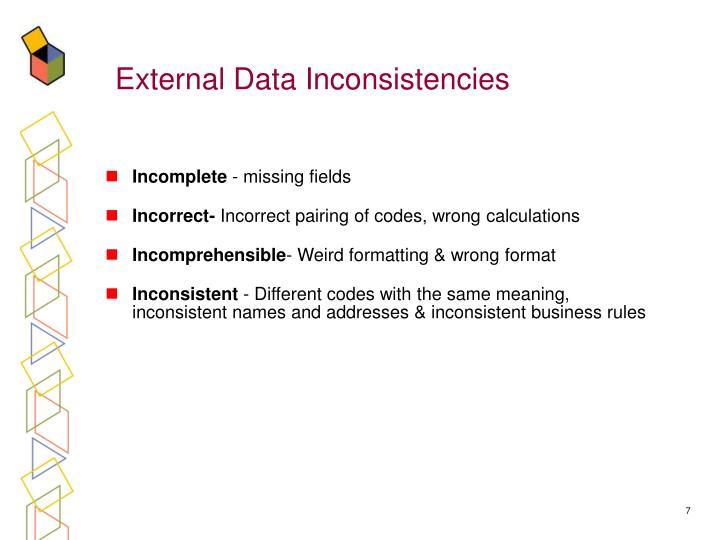 External Data Inconsistencies