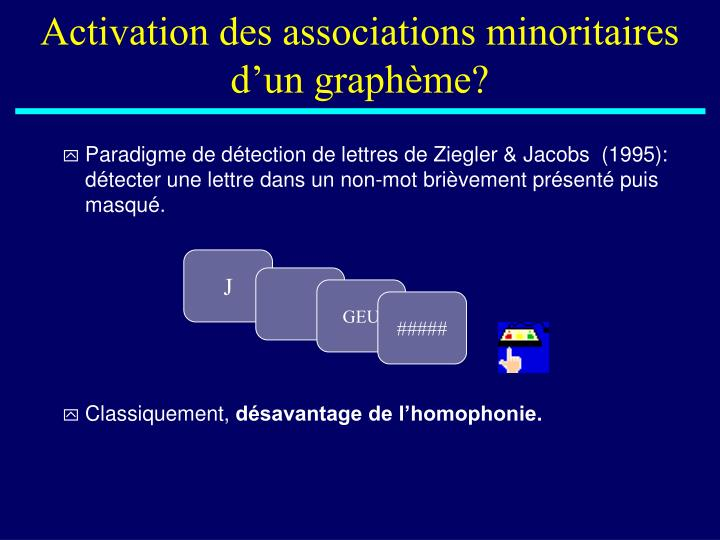 Activation des associations minoritaires d'un graphème?