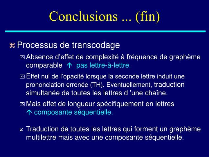 Conclusions ... (fin)