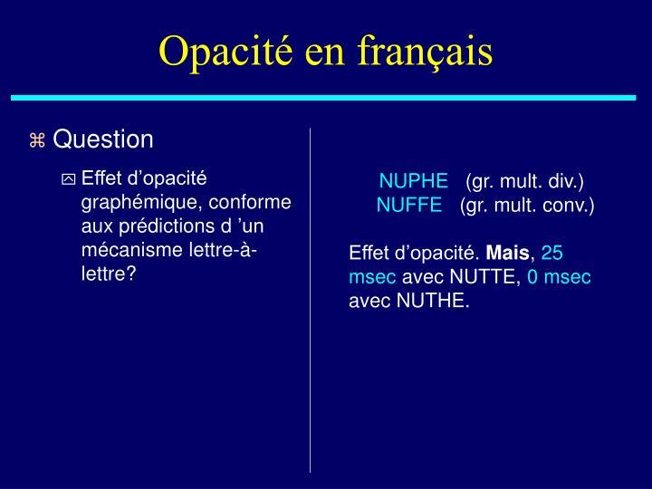 Opacité en français