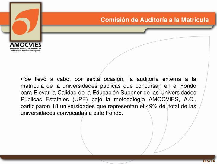 Comisión de Auditoría a la Matrícula