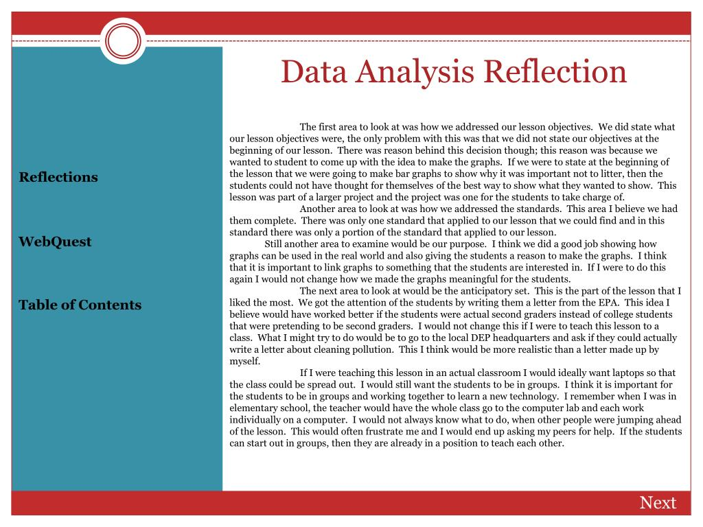 Data Analysis Reflection