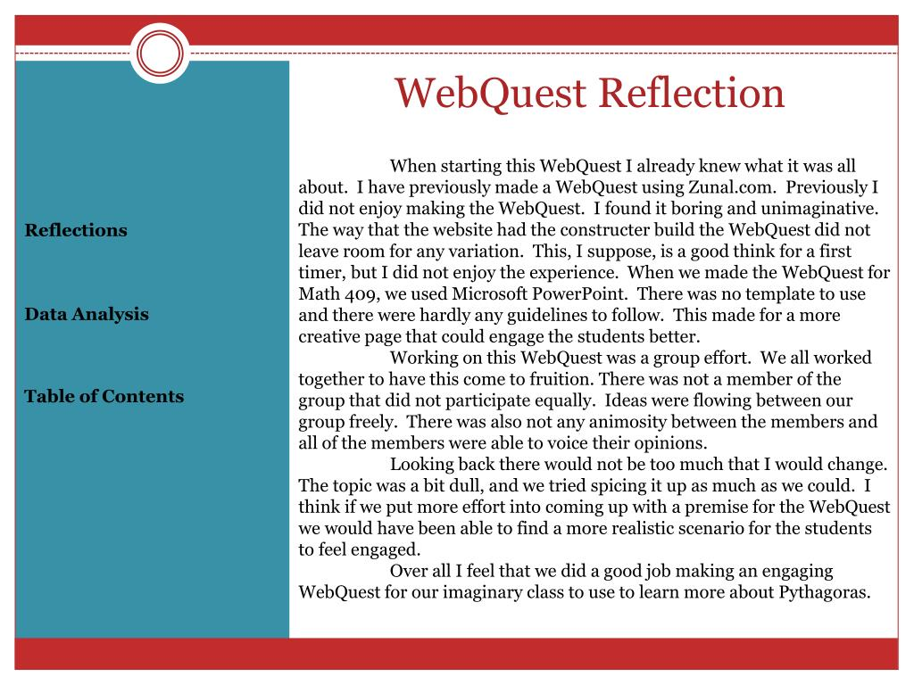 WebQuest Reflection