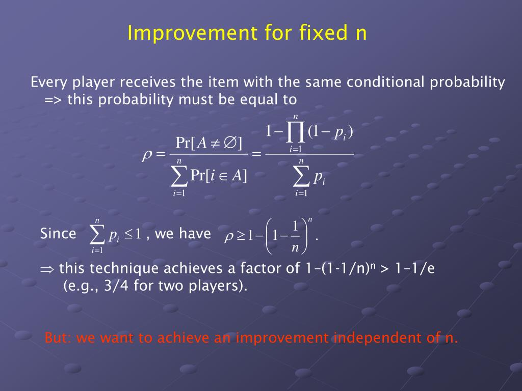Improvement for fixed n