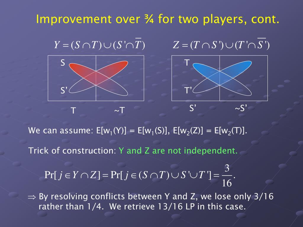 Improvement over ¾ for two players, cont.