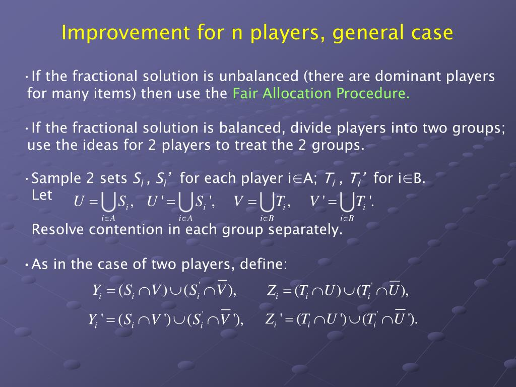 Improvement for n players, general case