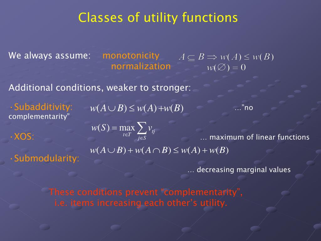 Classes of utility functions