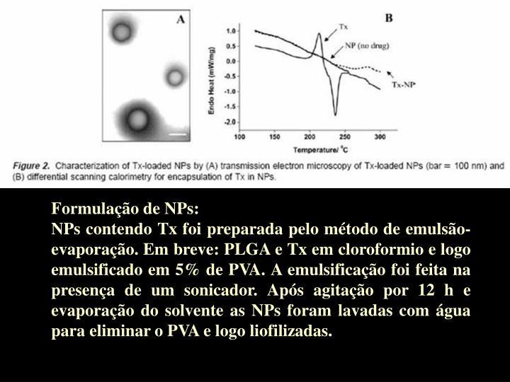Formulação de NPs: