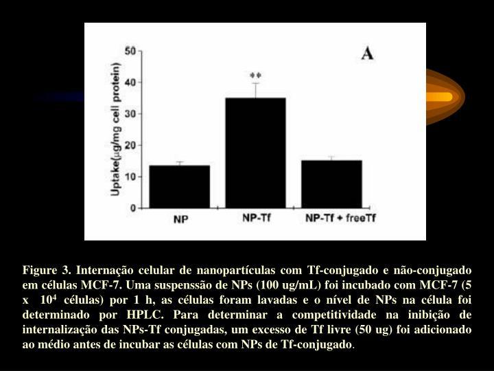 Figure 3. Internação celular de nanopartículas com Tf-conjugado e não-conjugado em células MCF-7. Uma suspenssão de NPs (100 ug/mL) foi incubado com MCF-7 (5 x  10