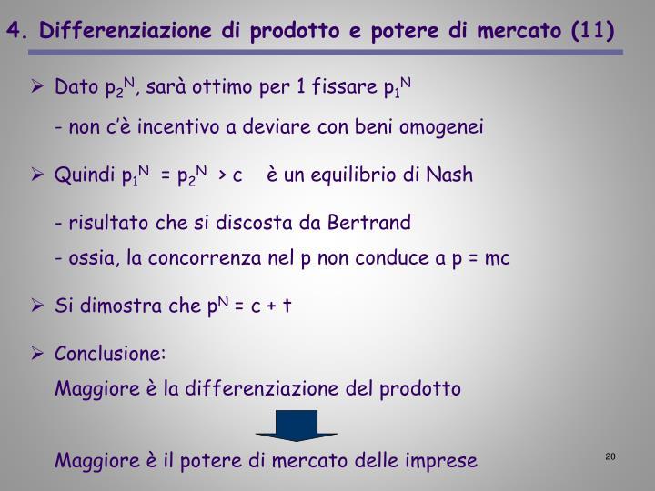 4. Differenziazione di prodotto e potere di mercato (11)