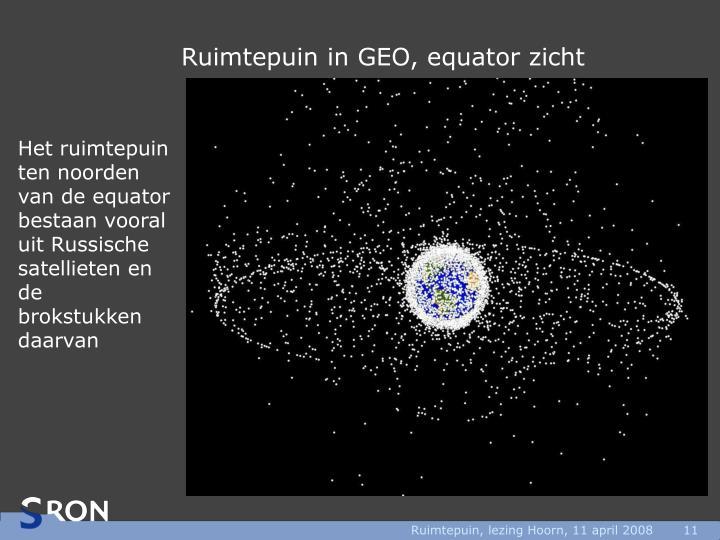 Ruimtepuin in GEO, equator zicht