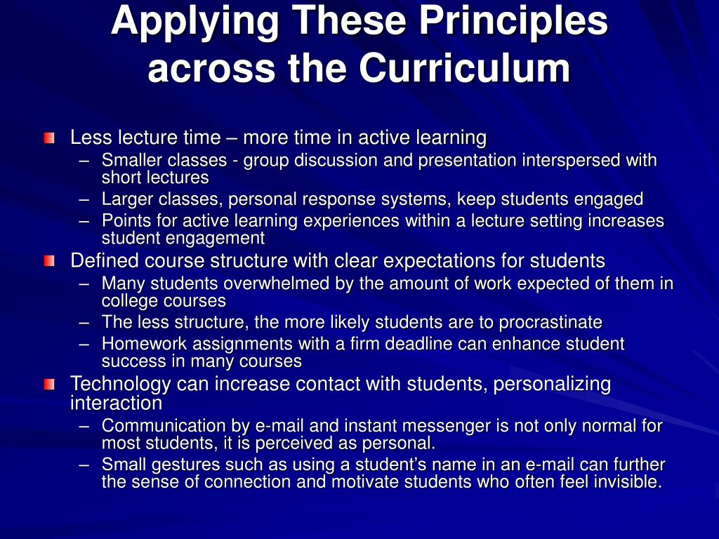 Applying These Principles across the Curriculum