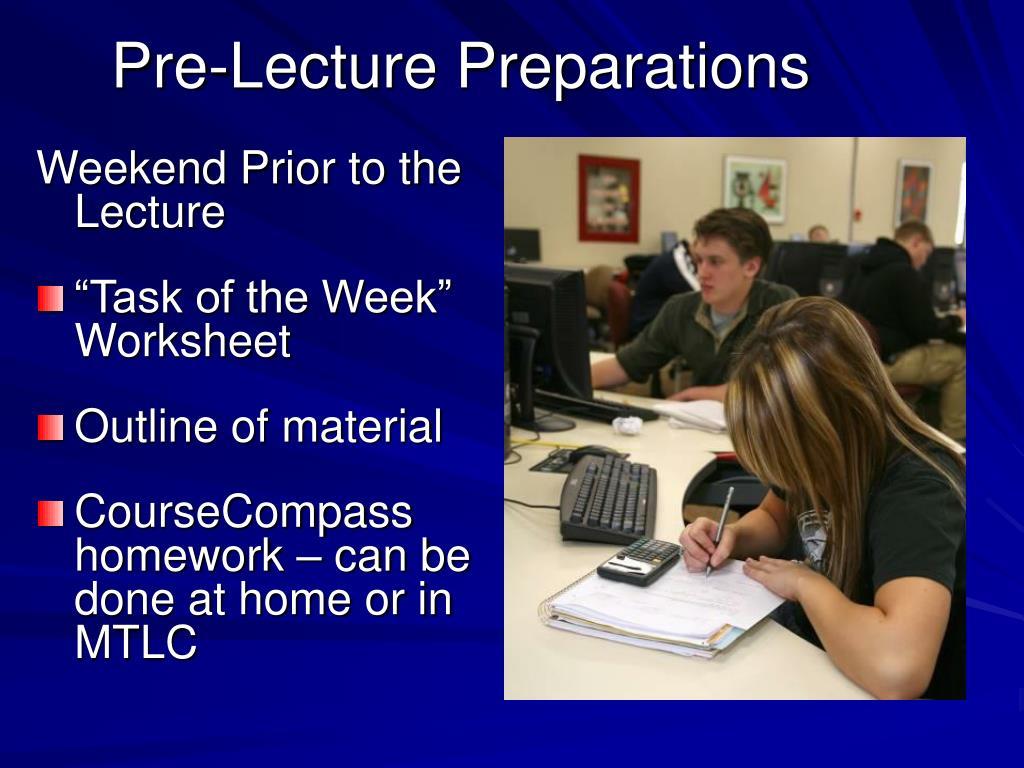 Pre-Lecture Preparations