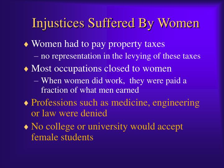 Injustices Suffered By Women
