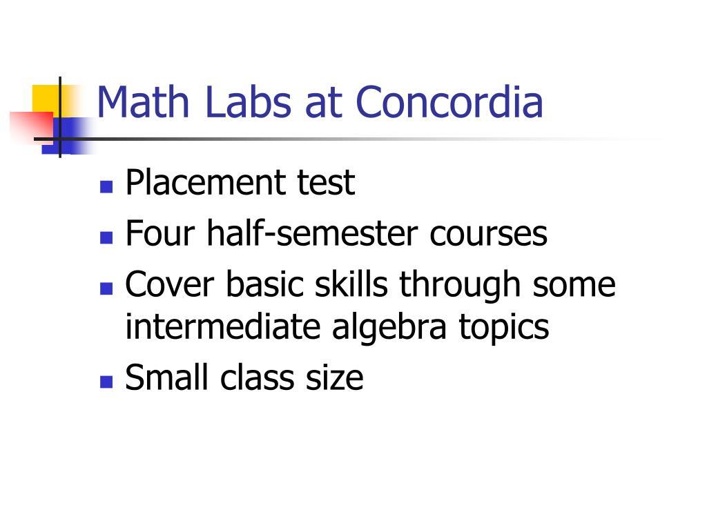 Math Labs at Concordia