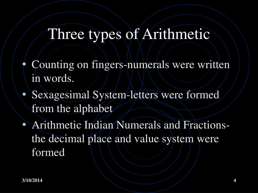 Three types of Arithmetic