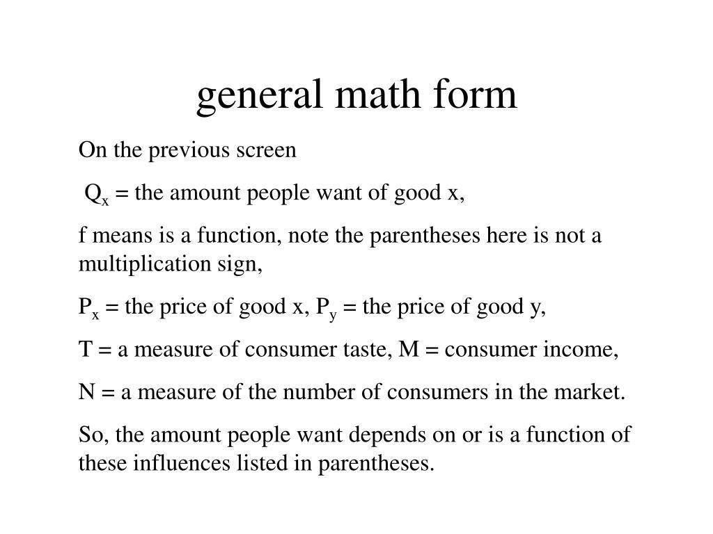 general math form
