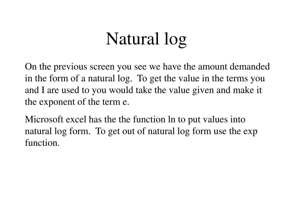 Natural log